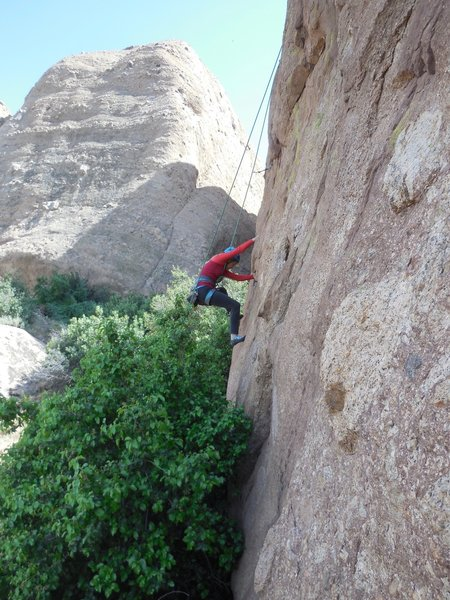 Working the footholds on 1st Rodeo.