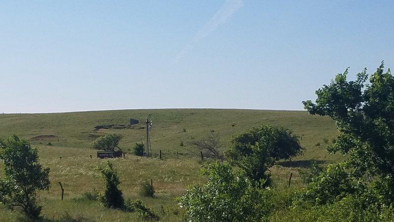 The view of Kansas prairie from mushroom rock state park.