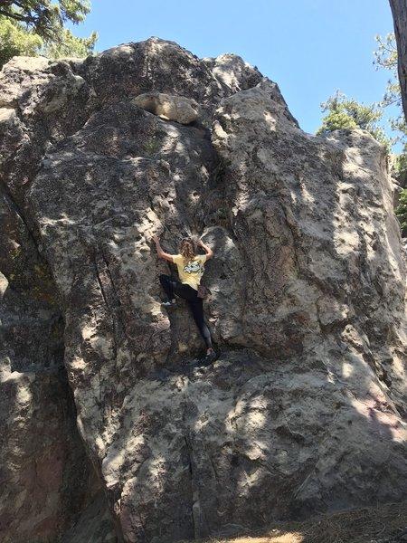 Monika climbing Quiet Storm