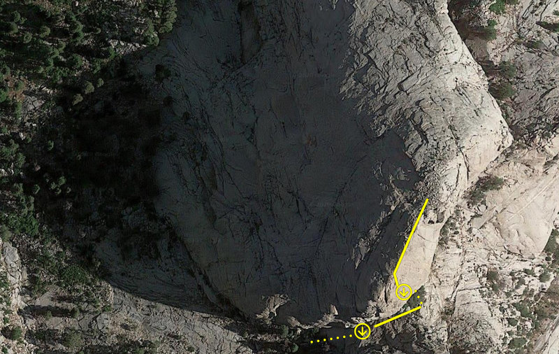 RAPPEL 1 of 5: Approximate locations of descent rappel anchors on satellite map