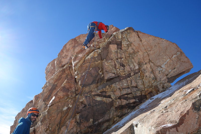 Mojon Rojo Summit Block.  A couple fun lay back moves to start and you are up.