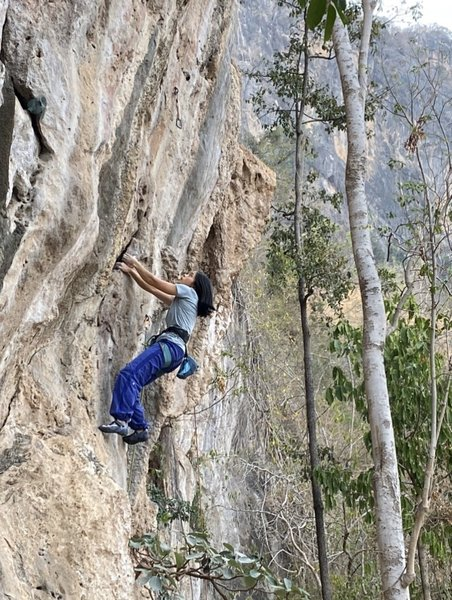 """Mean during her first ascent on """"Fire of Winter"""""""