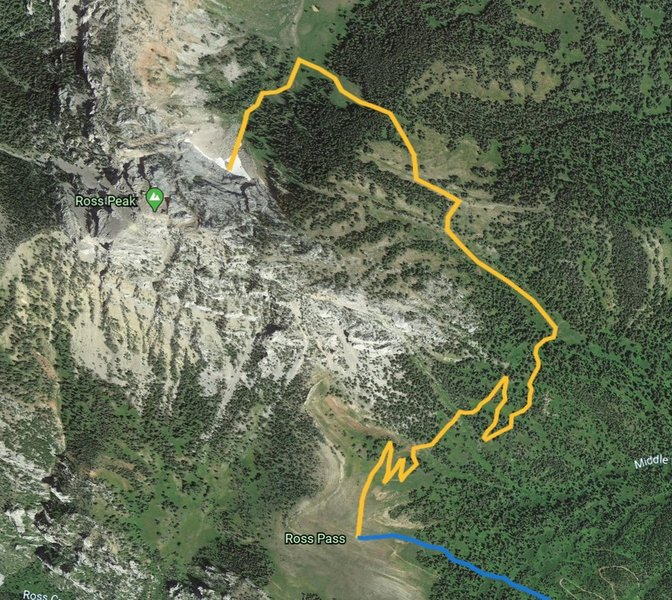 Updated approach from Ross Pass Trail Intersection. This route follows a trail for 1.1 miles before turning left up a shallow draw between two sets of trees, then over into the NE bowl to the snow field for a total of 2 miles. Photo data ©2019 Google