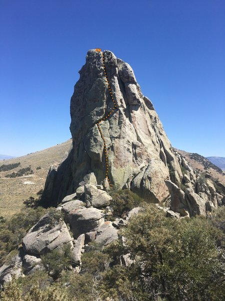 Eagle rock from the top of a boulder on trail.