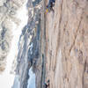 This route is phenomenal! This is the 5.11 pitch above the crux.<br> <br> Photo by Chris W.