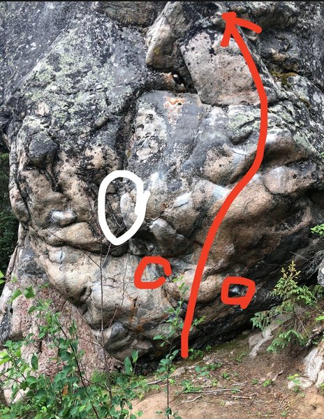 The red circles indicate starting holds. Using the jug in white circle is off route for full points - maybe V4 using this jug. This eliminate is totally worth doing though!
