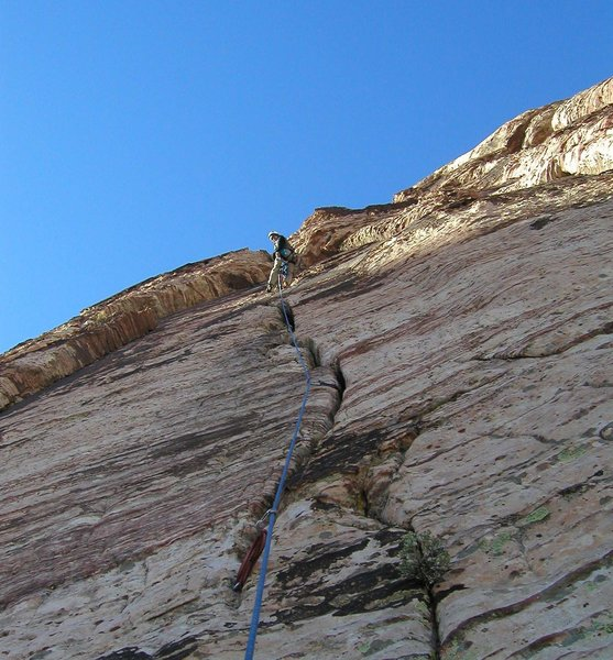 Looking up at the second belay
