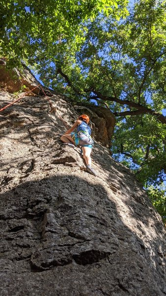 A good starter route for beginners.  Although the climb is pitched, the belay down is flat, which offers a very safe ascent, and a rappel type lower.