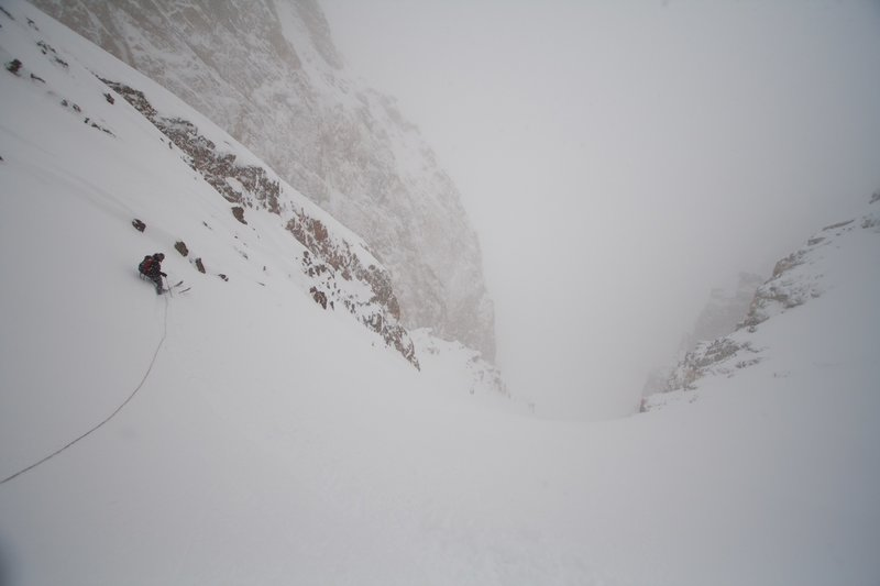 mason cassidy ski cutting our slope on belay on my last time in the tetons before i moved to seattle, wa.  excellent powder skiing ensued.  circa 2007 photo bissell hazen