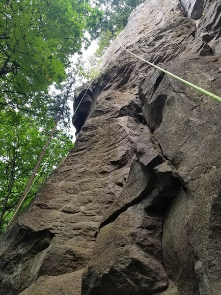 Taken from the Phylynx/Walk on Water/Mind Games belay chain anchors at the bottom. 1st half of the climb. The rock bulge on the face marks the merge point with Eye in the Sky. Then move left towards the arete