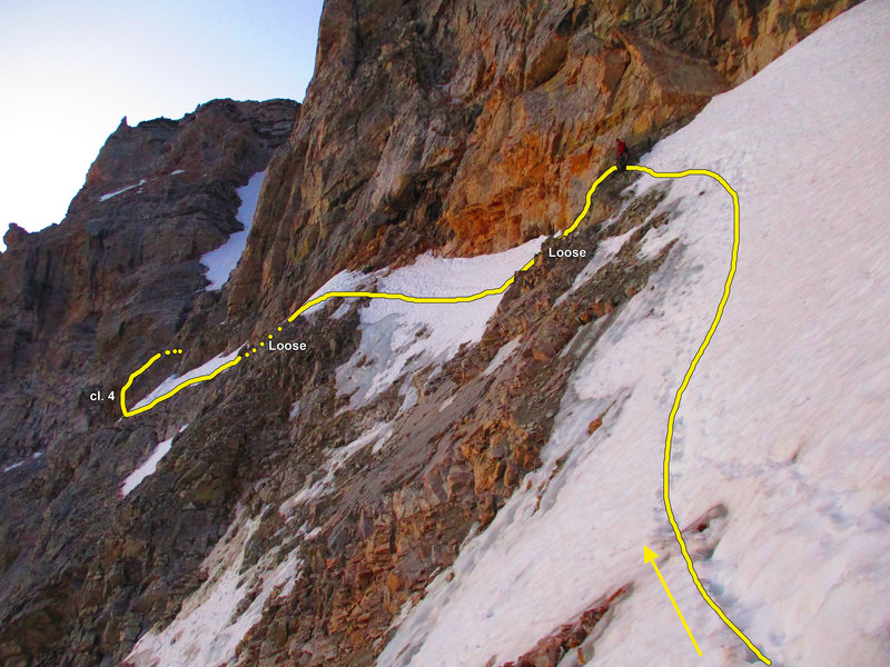 Valhalla Traverse Upper Ledges, seen from shortly after the bivvies, July 22, 2020.