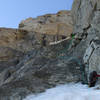 The first roped pitch of the Black Ice Couloir, July 22, 2020.