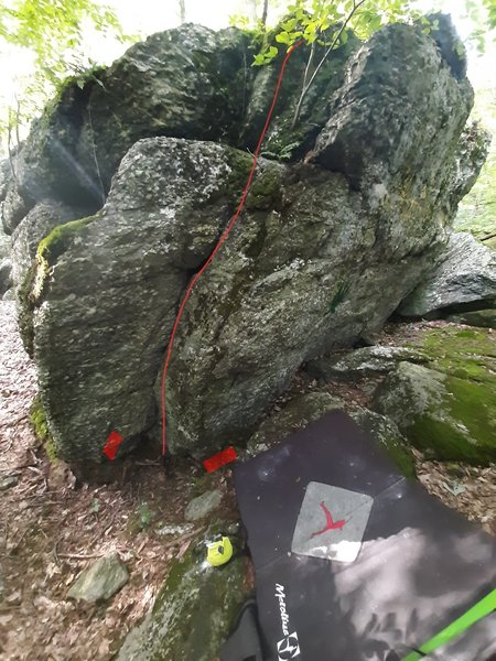 Red bars indicate approximate starting footholds