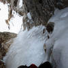 Looking down the crux ice section, July 22, 2020.