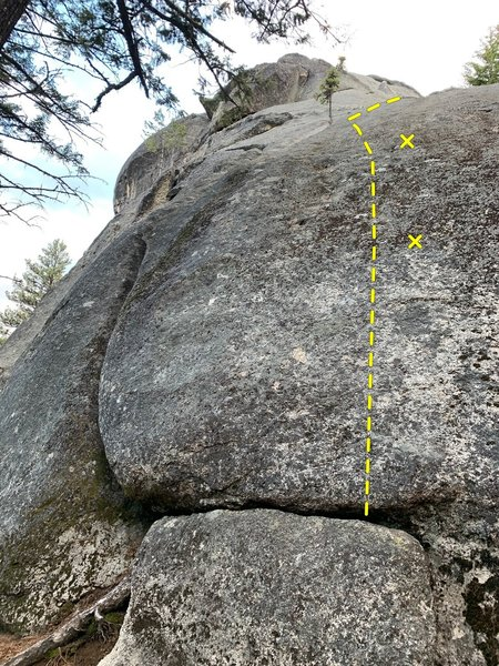 Climb the dirty slab past two bolts