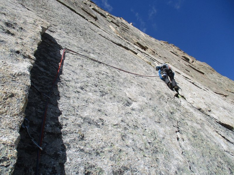 The 10c section at end of pitch 2 via Scimitar (this was the start of our pitch 3 but is the end of pitch 2 as per the belay described in the guidebook).