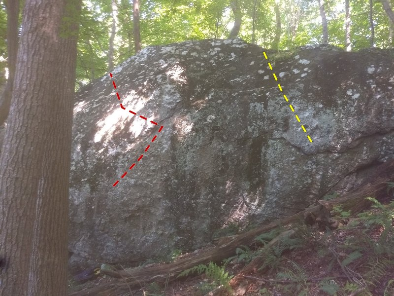 Alien Boulder: A.O. (Red), Temporary Undercling (Yellow)