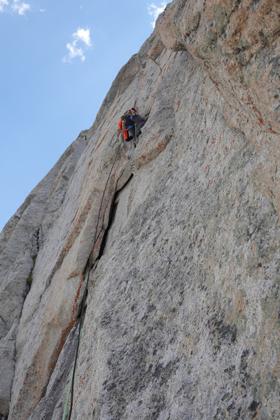 Looking up at the crux. Bolt at the feet.