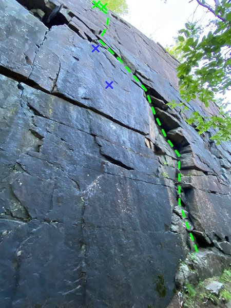 The 5.6 variation (green) to Sarge begins in the arching corner. Fun climbing!