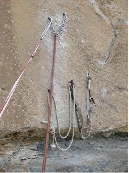 Second pitch belay station @ Cuarto Menguante. Original belay from first assent (Fedrico Pisani & Luis Cisneros) is at the bottom, new on  top.