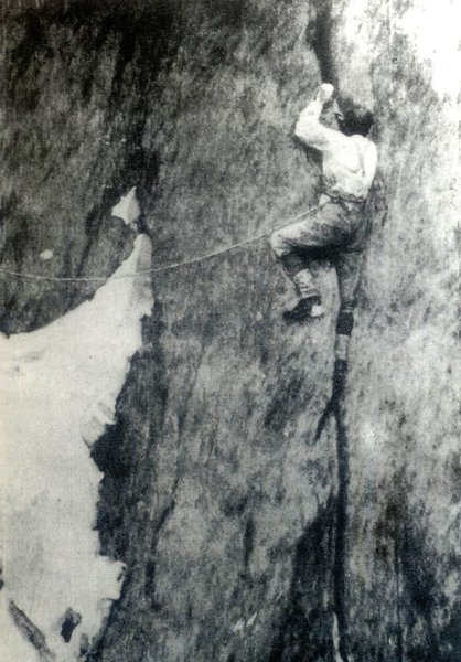 Alfred Mummery repeating his route, and namesake offwidth, in 1893.  Note lack of Big Bros.  Photo by Lily Bristow, first woman to ascend the Grepon; maybe in a dress!