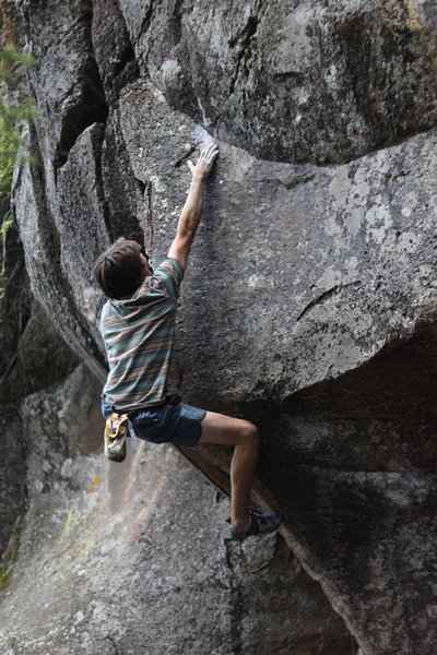 The crux move. Congrats to Clay for second ascent in a decade