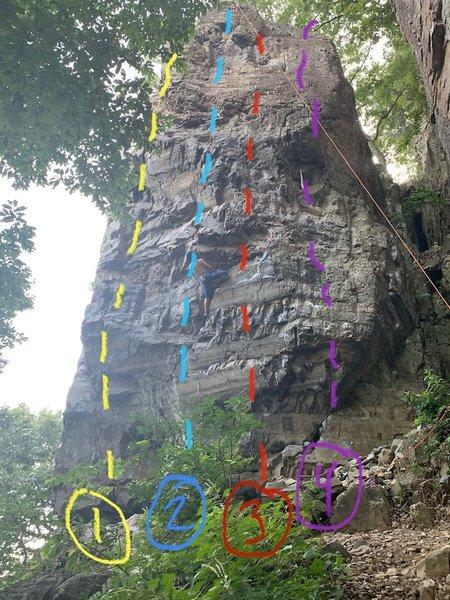 1. Mang-gu 5.12c<br> 2. Mu-Llyong 5.12a<br> 3. Hanuri 5.12b <br> 4. Get Over the Hurt! 5.11d