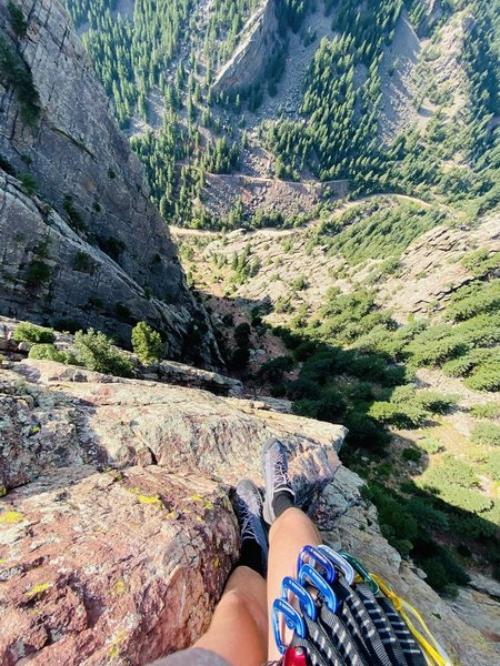 Probably my second favorite arete in the whole canyon. Well, I've only climbed two so far but that view! Thanks, Maksym, for the shoes!