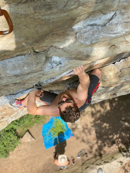 Good rest at the third clip before the crux. Beautiful area if you are looking to get pictures taken as well. Photo credit to Matt Thoburn.