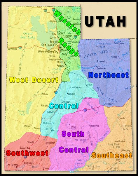 Utah's climbing regions