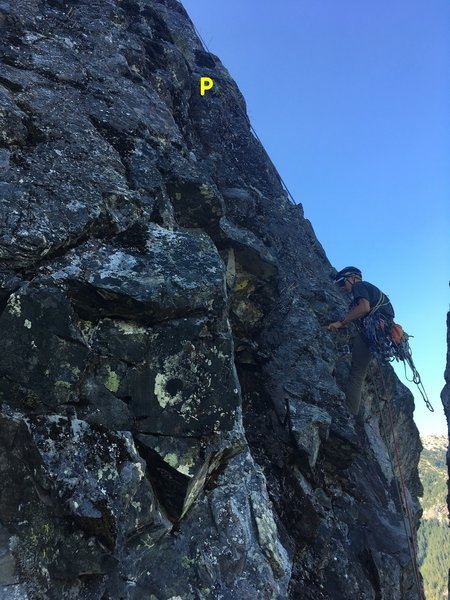"""Christian scrubbing, photo taken from P4 belay. For route finding note the exposed fins next to Christian and yellow slung horn (Marked with """"P"""") above."""