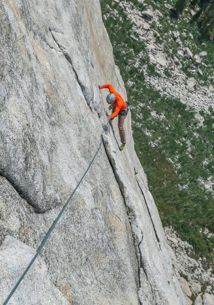 Some of the climbing on the 6th pitch