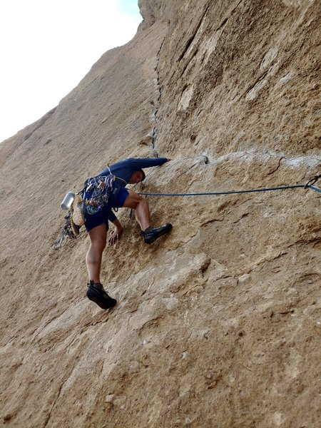 About to pull the mantel on P4 during another romp up Zebra Zion. What a great climb...