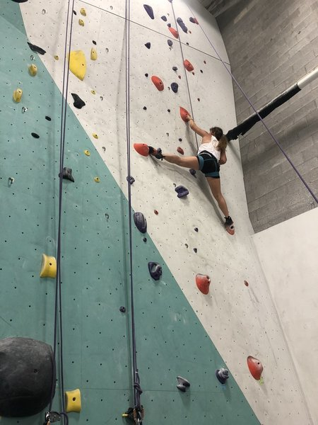 an awesome gym if your looking for one anywhere near Springfield, this is your place! route shown is a 5.10 that is no longer up at the gym.