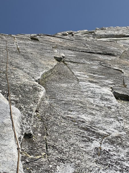 Paul at P3 belay (well right of rope line in pic)