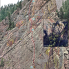 A topo for Bastille Crack. The grade range reflects community opinions. Additional P4 and P5 variations not pictured.<br> <br> Photo by Tim Meehan, inset from Google Earth (www.google.com/help/terms_maps/).