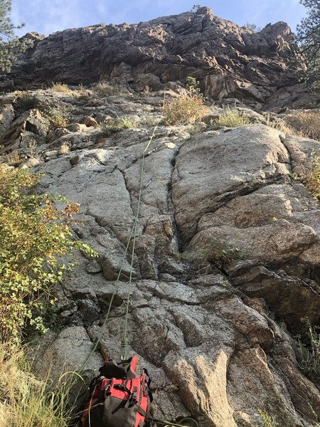 The climb shown by a rope.