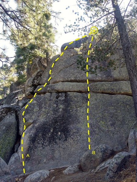 Left side of Three Fishes Rock, Fisherman's Buttress Area<br> <br> A. Fisherman's Friend (5.10c)<br> B. Three Fishes (5.10c)