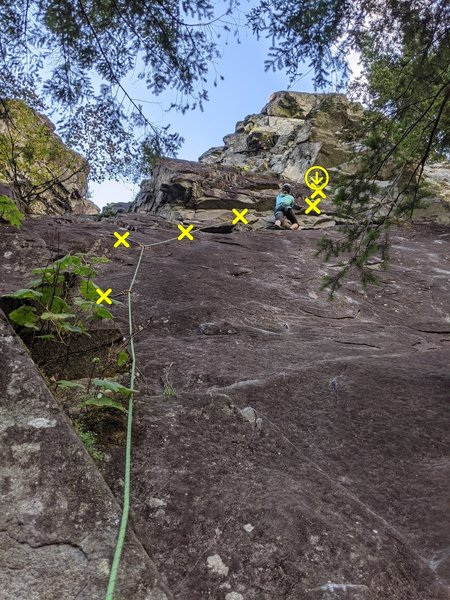 The route looks slabby but it's actually juggy. Then it traverses right for a couple bolts (pretty good hands) and then up.