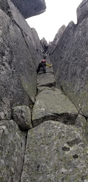 Crux is to climb these parallel cracks and exit the gully. We took climber's right.
