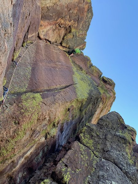 Max Manson on the overhanging finish.