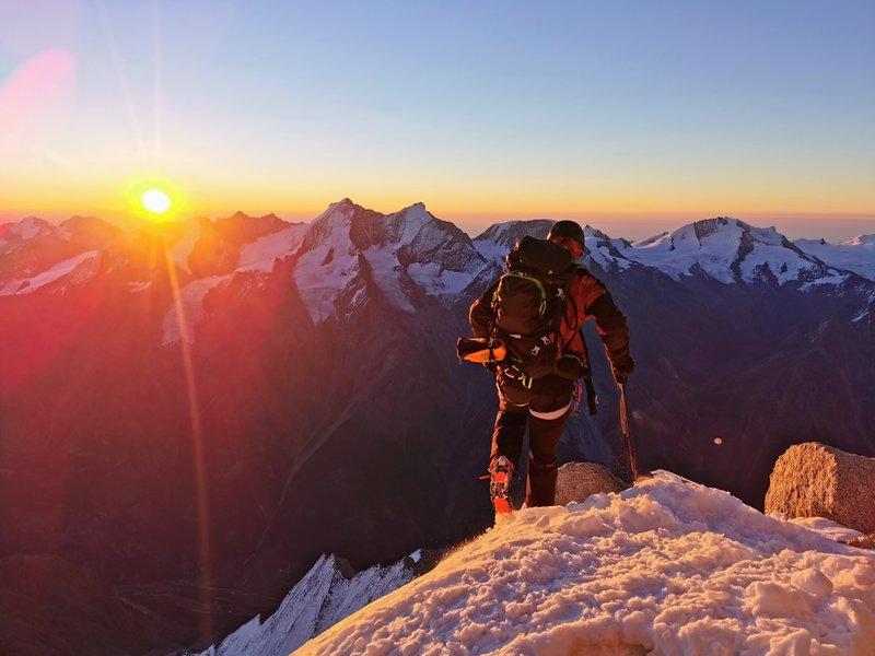 Sunrise on the Weisshorn summit