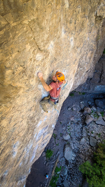 Moving into the crimpy crux. September 2020.
