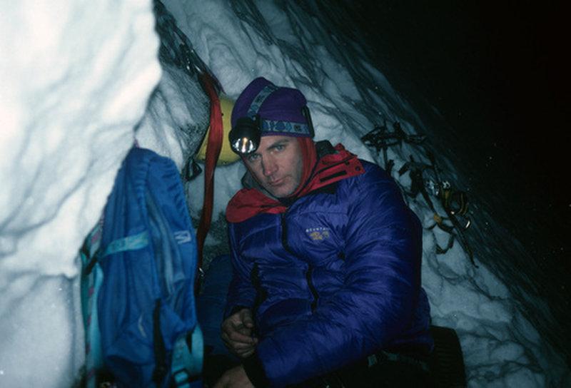 Winter Bivi at base of the pillar.
