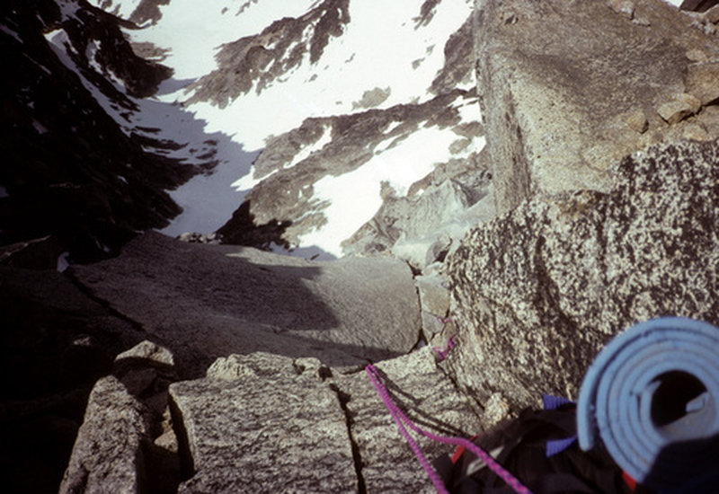 summit pitch of my May 1992 solo (2nd of 2 self belayed pitches)