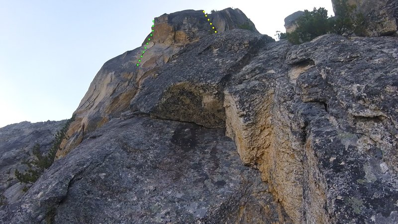 Splitter crack on left, chimney variation on right. Both join up after about 15m of climbing for more fun hand and finger cracks