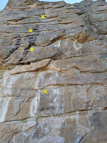 """This shows the first four bolts. I found the description of """"the hard to clip second bolt"""" to be untrue. I found huge jugs to hang on when clipping and found it quite easy, I wonder if this route has changed?"""