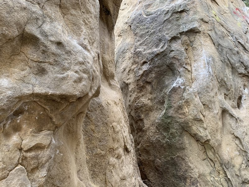 """the boulder switch section. This is the """"karate kick"""" section of the climb where you transition between the two walls."""