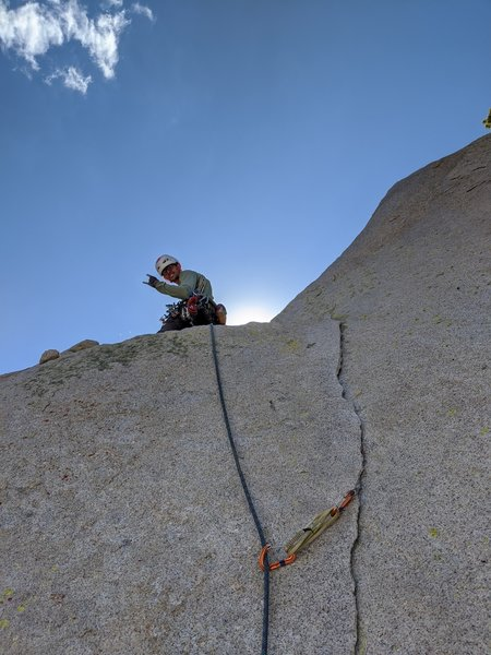 After the 5.10 boulder problem on pitch 4. On my way to the summy (Photo: Nathan Eggleston)