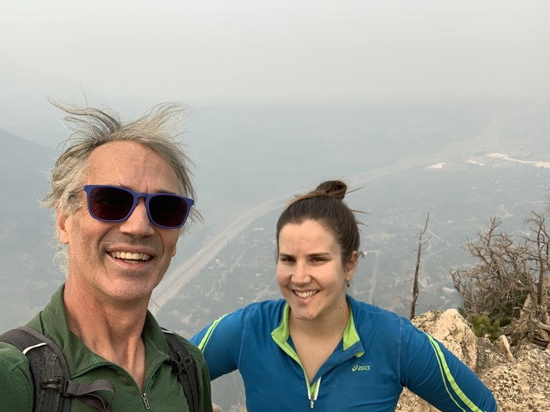 On the summit after a father/daughter ascent. Wildfire smoke from out West filled in the I-70 corridor, making it hard to breathe. The following day saw up to a foot of snow fall and temps dropped some 60 degrees.